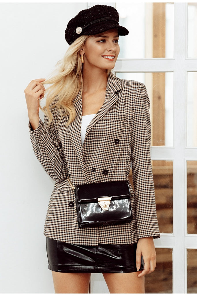 Autumn double breasted plaid blazer