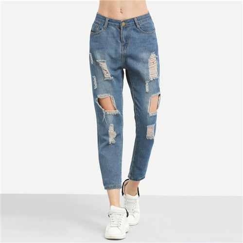 Blue Ripped Distressed Boyfriend Ankle Denim Plain Straight Leg Jean