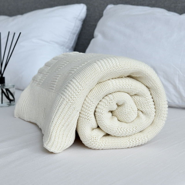Soft Portable Plaids Knitted Blanket