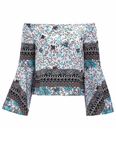 Boho Blouses Off The Shoulder Floral Print Top