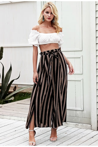Split striped lady wide leg pants