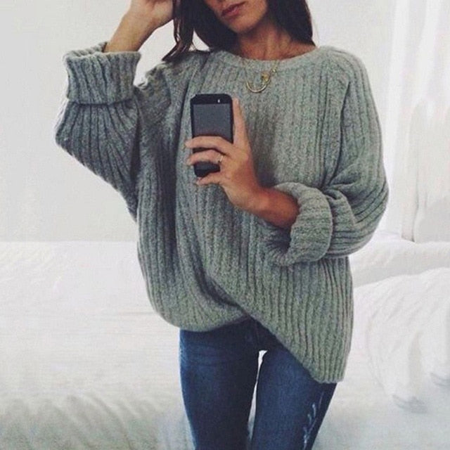 casual solid pullovers knitwear autumn winter sweater