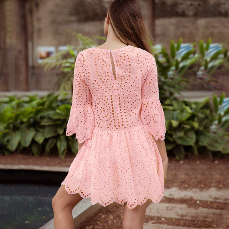 White Pink Ruffles Cut Out Lace Dress