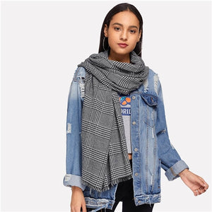 Basic Grey Frayed Trim Plaid Scarf