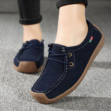 Flats Summer Leather Loafers  Lace Up Casual Shoes