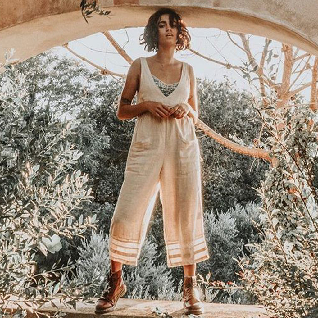 Boho Hippie Deep Sleeveless Jumpsuit