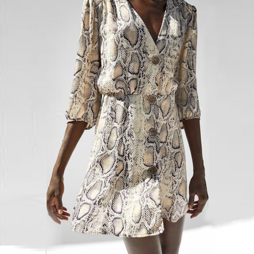 Rust Snake Print Plung Neck Wrap Dress