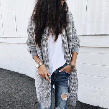 Autumn Casual Knitted Loose Plaid Long Cardigan
