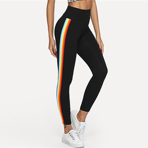 Black Wide Waistband Stripe Side Leggings