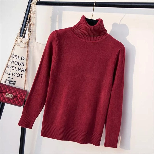 Thick High Elasticity Casual Pullovers Turtleneck Knitted Sweater