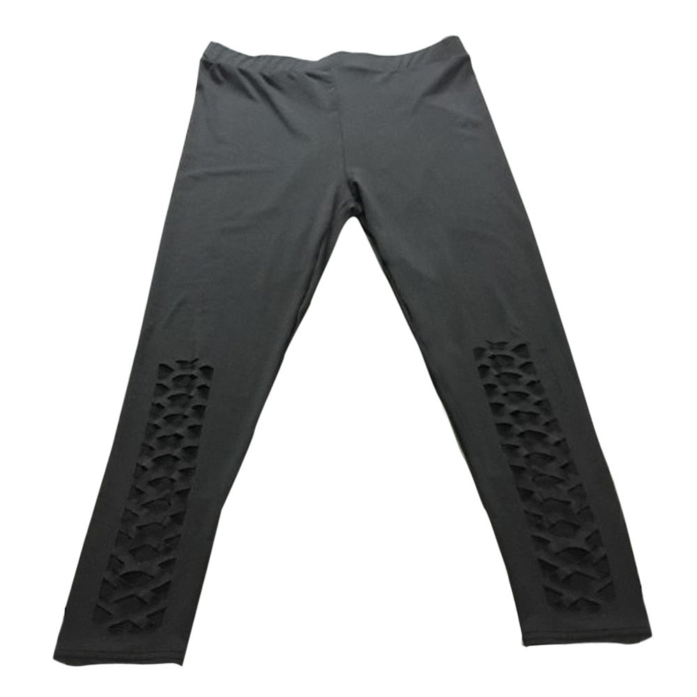 High Elastic Pierced Cropped Fitness Sportswear Pant