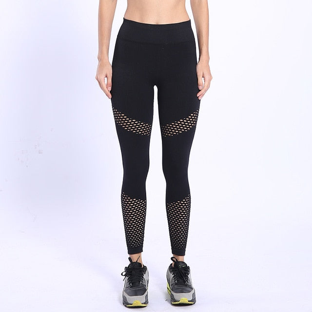 Fitness High Waist Mesh Splicing Elastic Skinny Blended Pants