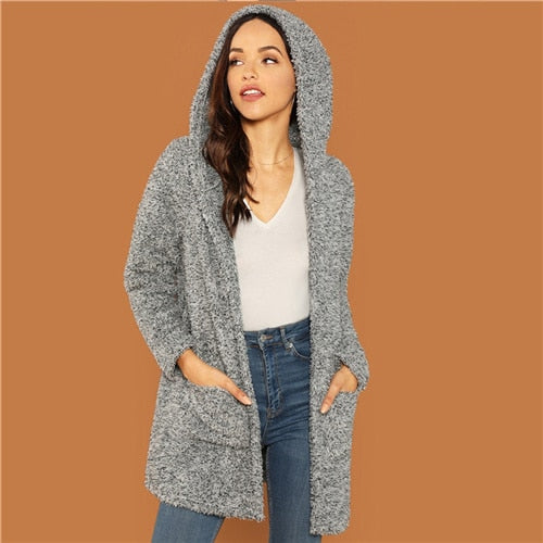 Grey Casual Hooded Pocket Patched  Cardigan
