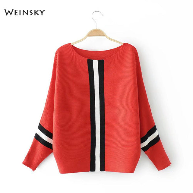 Casual Style line Knitted Sweater