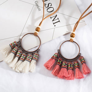 Bohemian ethnic long tassel fringed choker necklace