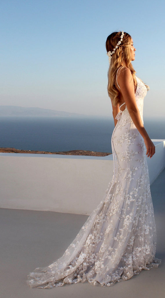 Wedding Sexy White long Deep V Neck Backless Dress