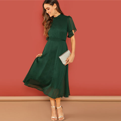 Green Flutter Sleeve Short Sleeve Split Tie Back Solid Stand Collar Dress