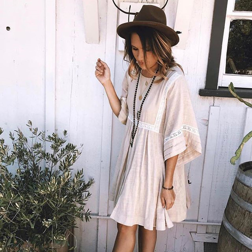 Boho Patchwork Lace Dress O-Neck Kimono