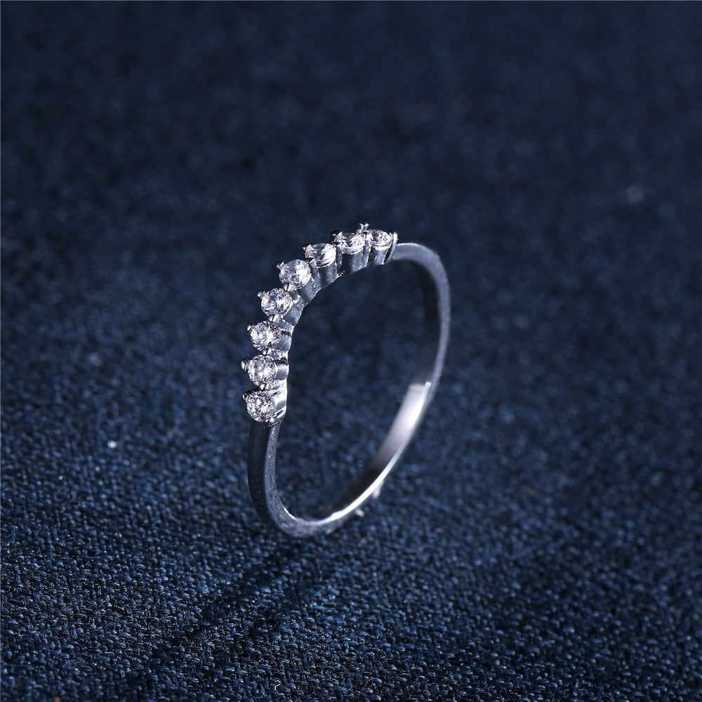 Geometric Design Cubic Zirconia Rings Set