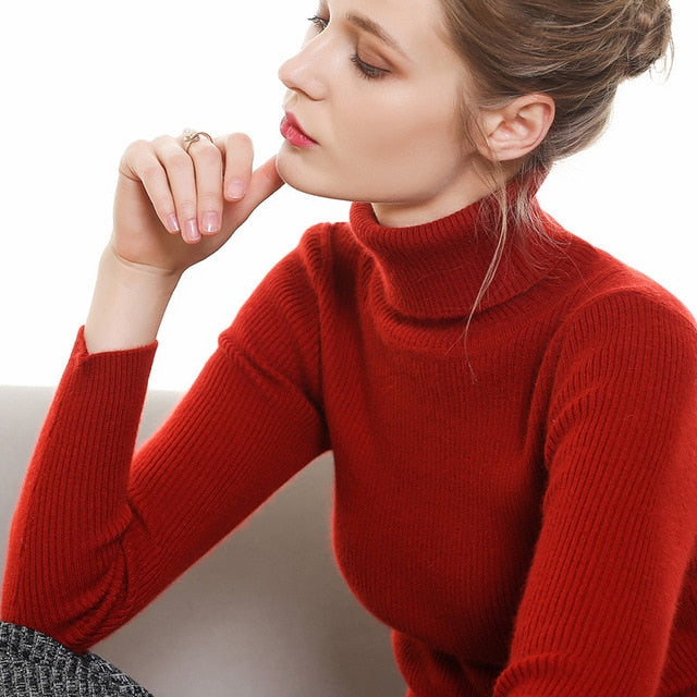Turtleneck Cashmere Knitting Pullovers Sweater