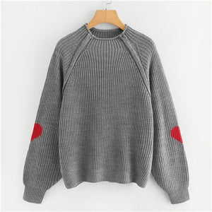 Grey Knit Heart Insert Raglan Sleeve Sweater