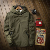 Casual Autumn Solid Army Green Black Bomber Men Hoodies
