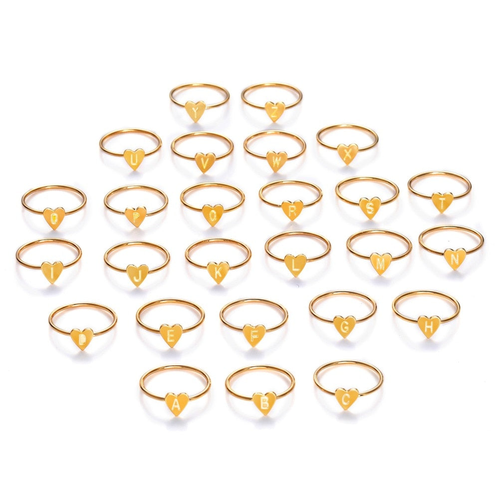 Gold Silver Color Heart Letters Rings