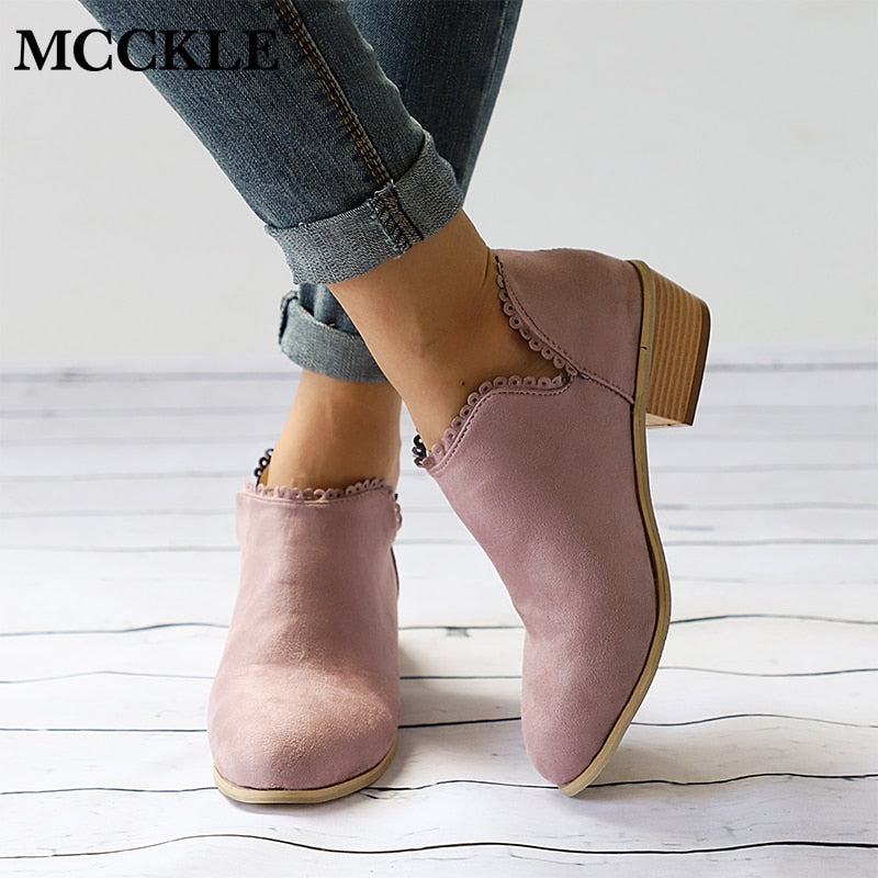 Woman Clog Low Heel Slip On Ankle Boots