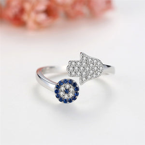925 Sterling Silver Evil Eye Blue Eye AND Hamsa Hand Fatima Hand Adjustable Female Ring