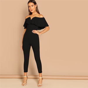 Black Elegant Office Lady Solid Off Shoulder Short Sleeve Ruffle Skinny Jumpsuit