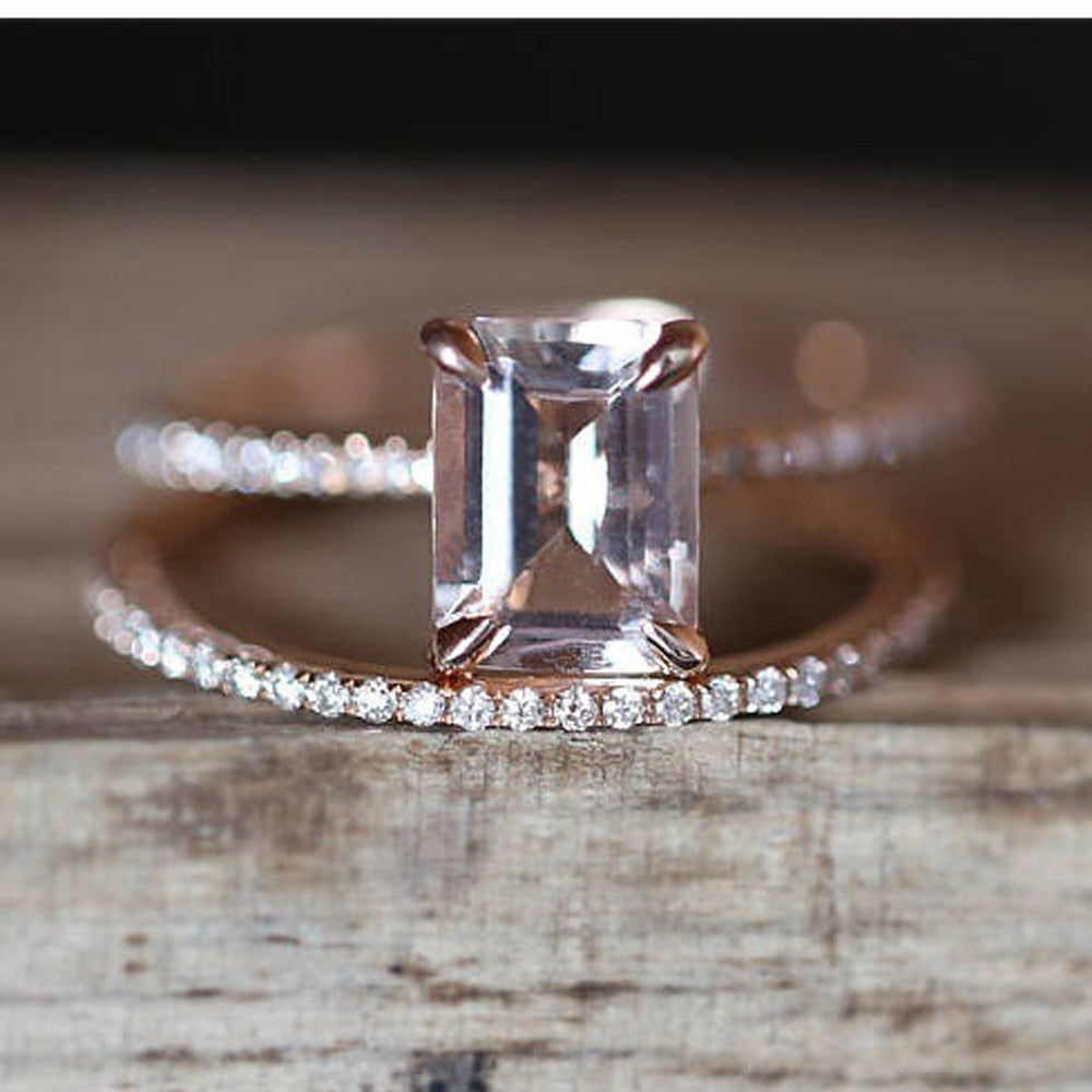 Square Crystal Zircon Ring Set