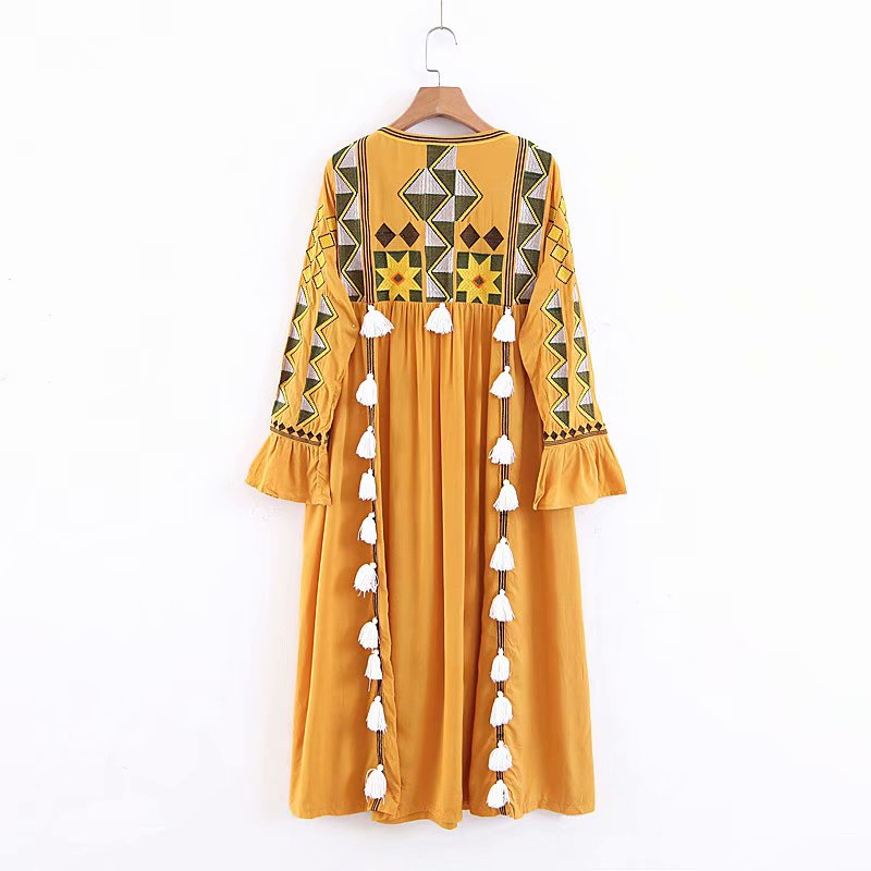 Unique Boho Embroidery Tassels Vintage Dresses
