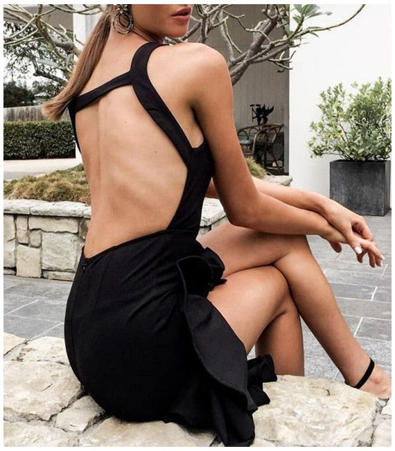 Black Tuxedo Asymmetrical Flounce Backless Casual Boho Mermaid Retro Ruffles Midi Dress