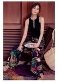 Bohemian Waist Belt Tropical Print Wide Leg Pants