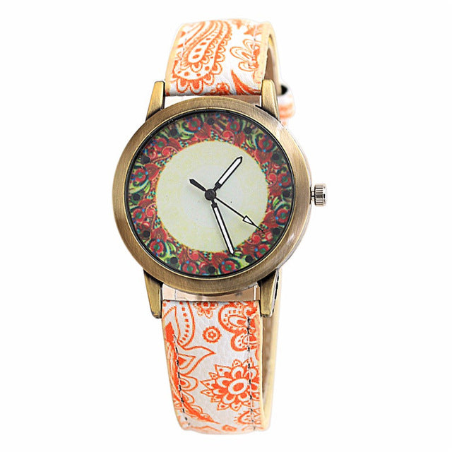 Imitation Porcelain Retro Leather Band Analog Quartz