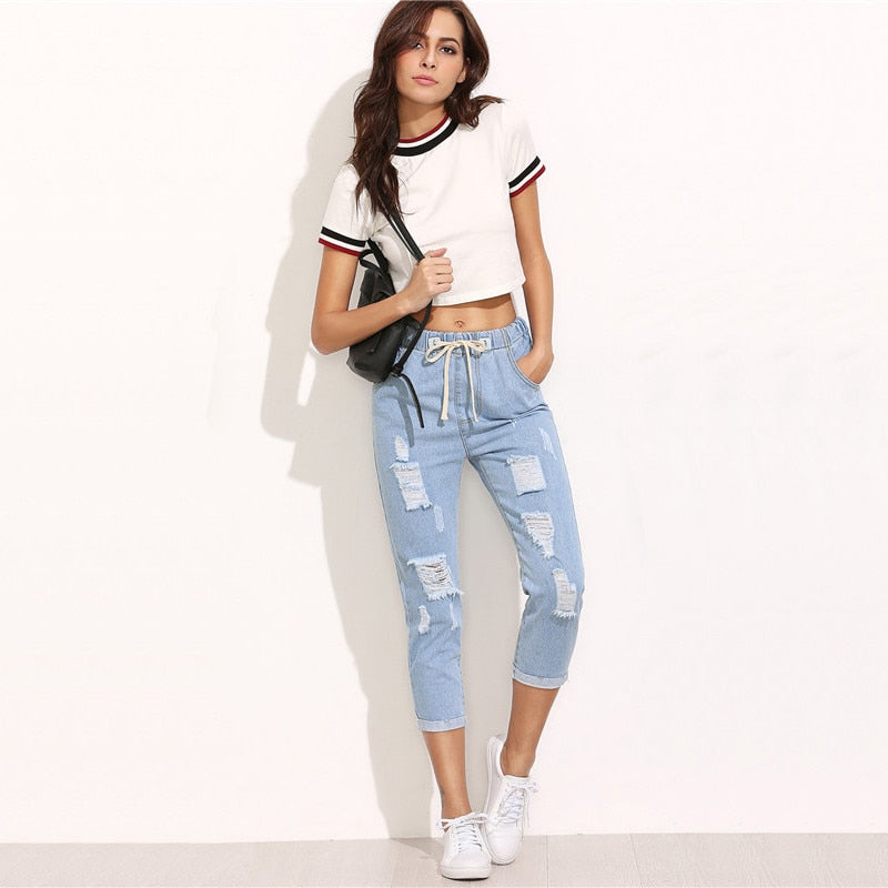 Ladies Blue Ripped Mid Waist Drawstring Skinny Denim Calf Length Jeans