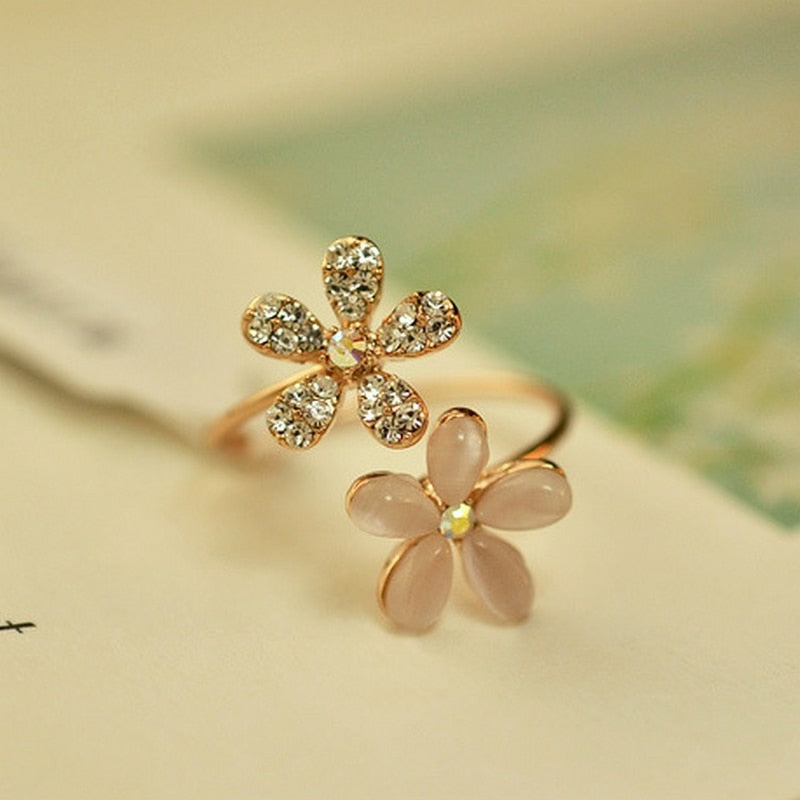 Charms Zircon Flower Adjustable Ring