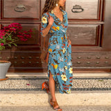 Long Dress Floral Print Summer Maxi Chiffon Dress