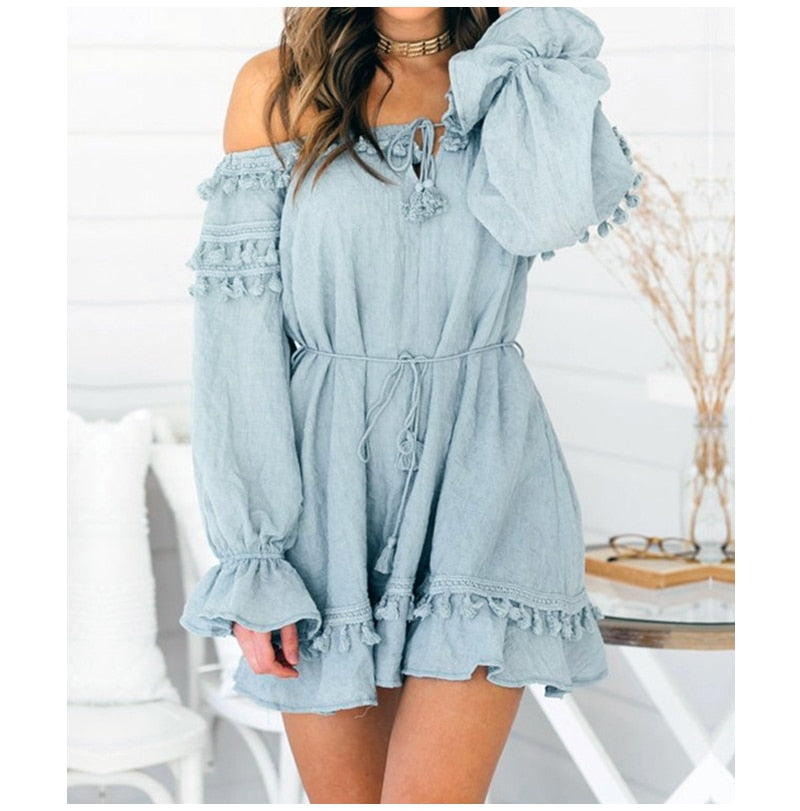 Blue off shoulder sexy tassels boho dress