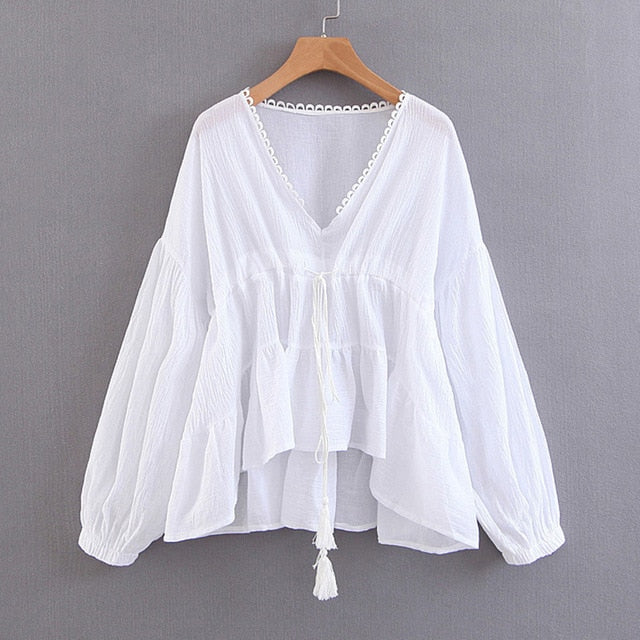 Broadcloth  Ruffle Boho White Blouse Top