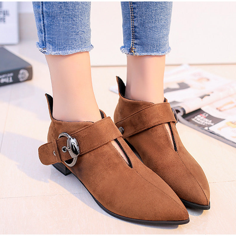 Warm Flock Winter Buckle Ankle Low Heels Chelsea Boots