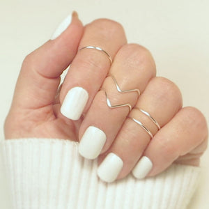 5pcs/set Boho Knuckle Tail V-shaped Ring