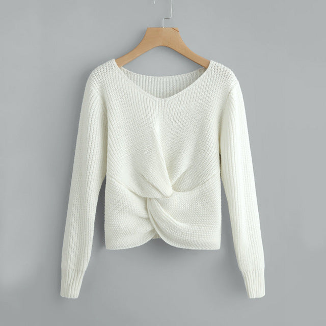 Long Sleeve Solid Color V-neck Sexy Cross Knotted Panel sweater