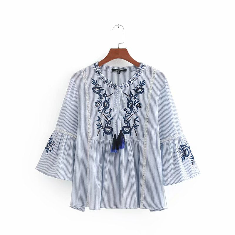 Vintage flower embroidery striped lace casual blouses shirt