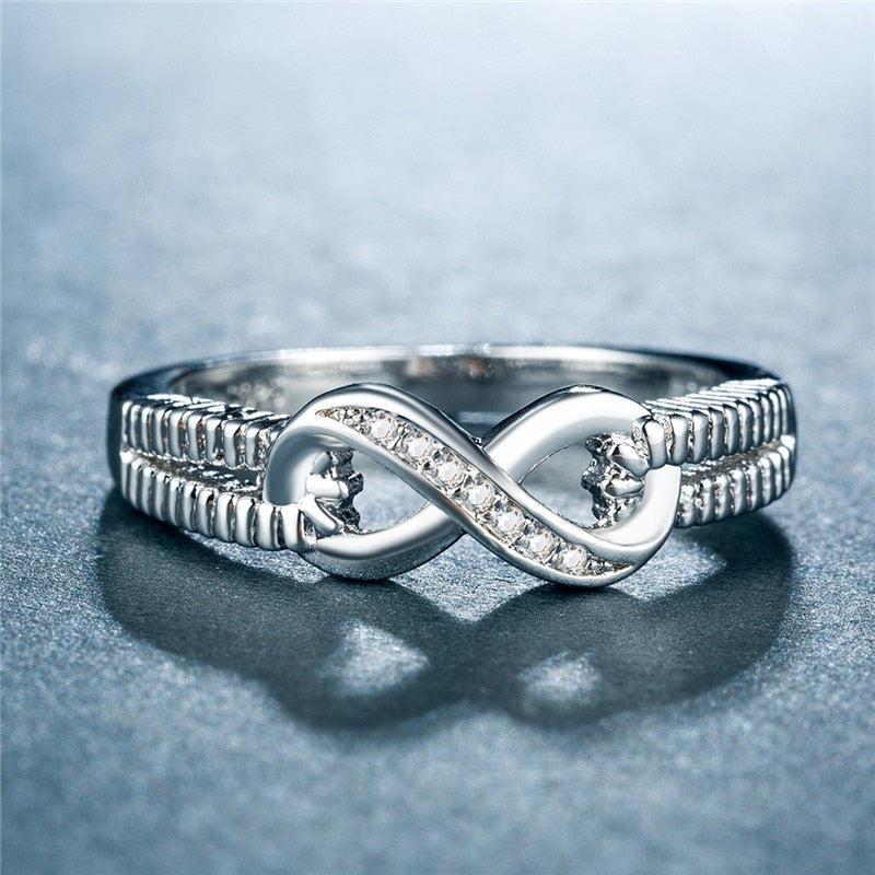Silver Color Infinity Eternity symbol Ring