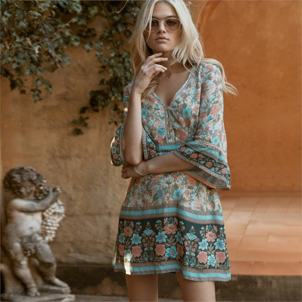Patchwork Lace V-Neck Boho Floral Print Dress