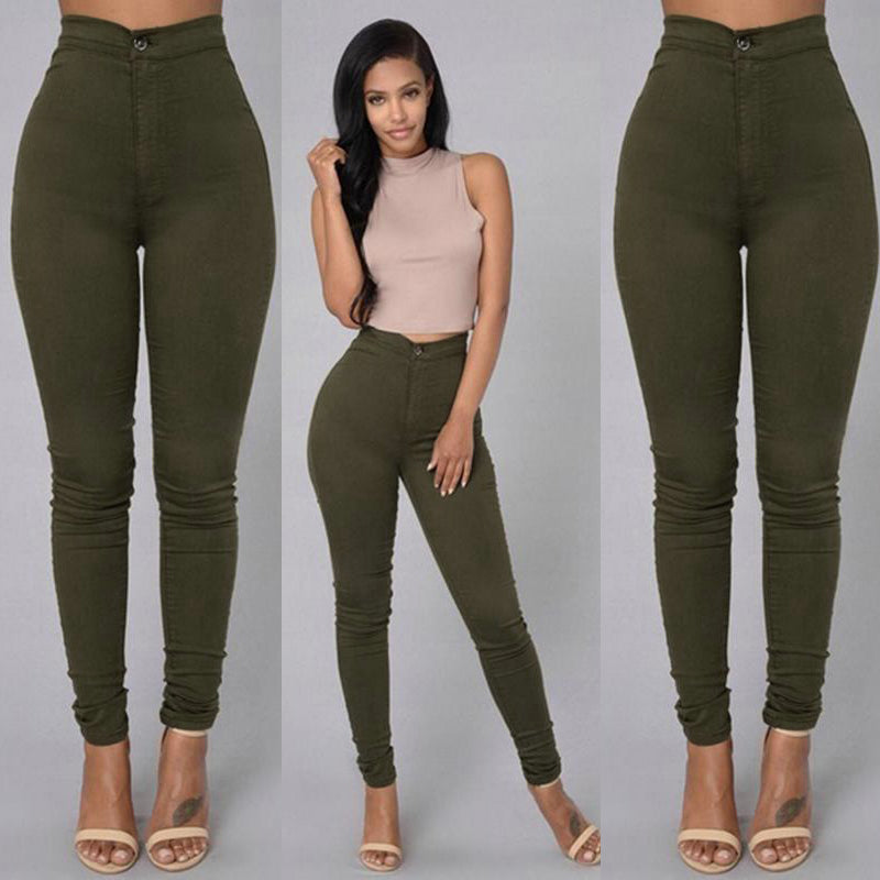 Pencil Stretch Casual Look Skinny Solid High Waist Trousers Jeans