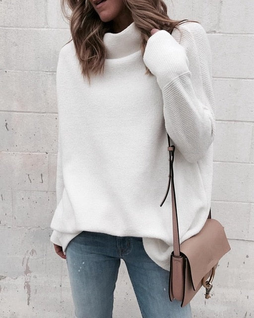 Long Sleeve White Knitted Turtleneck Sweater