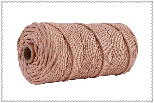 3mm 100% Cotton Cord Colorful Cord Rope Beige Twisted Craft Macrame String