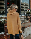 Vintage Casual Solid Turtleneck Knitted Sweater